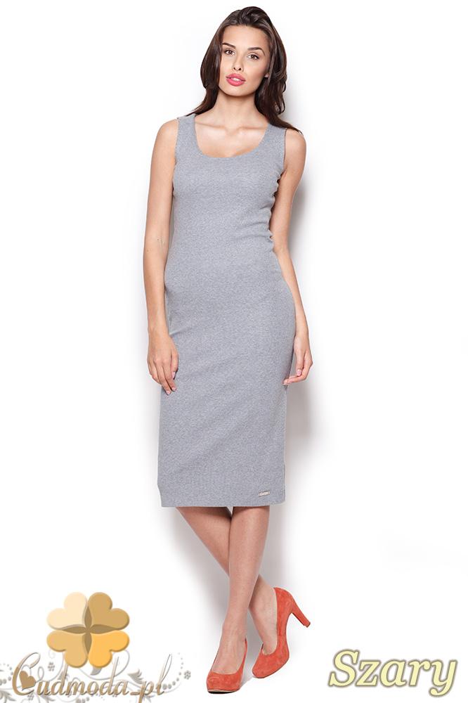 CM0920 FIGL M282 Bawełniana dopasowana sukienka za kolano - szara