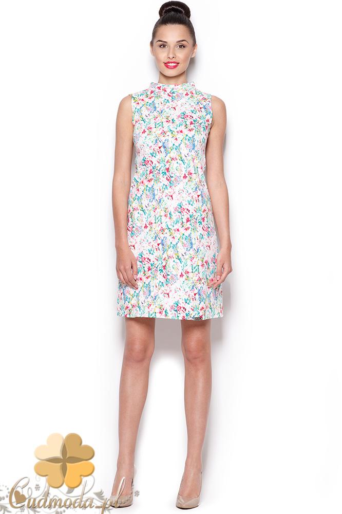 CM0921 M300 FIGL Sukienka mini bez rękawów w kwiatowy wzór