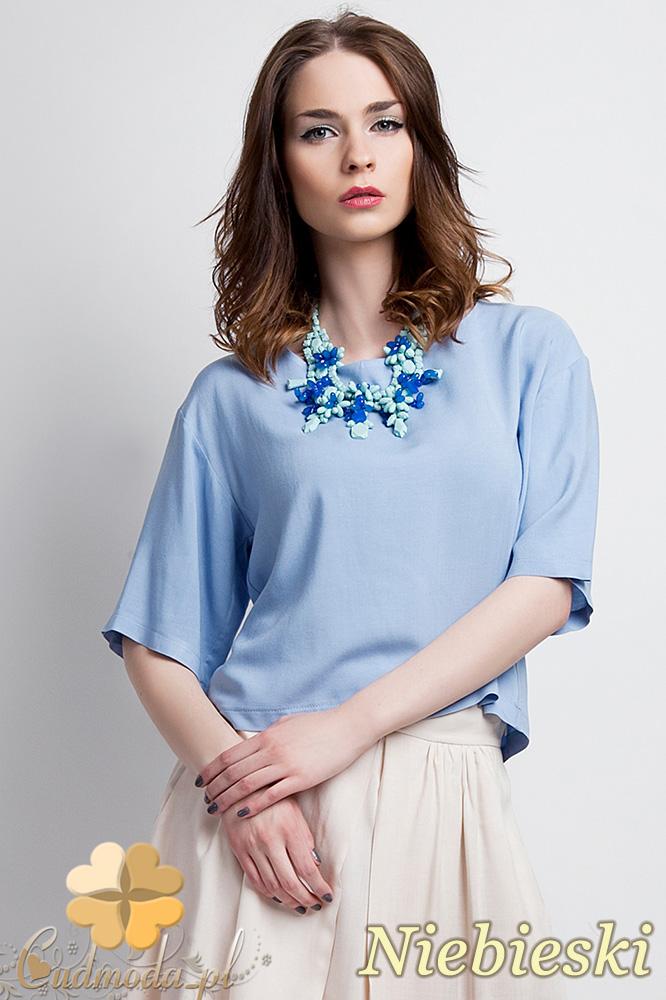 CM0931 LANTI BLU110 Zwiewna bluzka z szerokimi rękawami do łokcia - niebieska