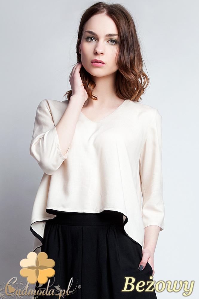 CM0935 LANTI BLU111 Asymetryczna bluzka damska z lamówkš na dole i dekoltem w serek - beżowa