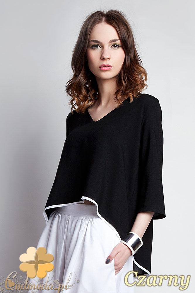 CM0935 LANTI BLU111 Asymetryczna bluzka damska z lamówkš na dole i dekoltem w serek - czarna