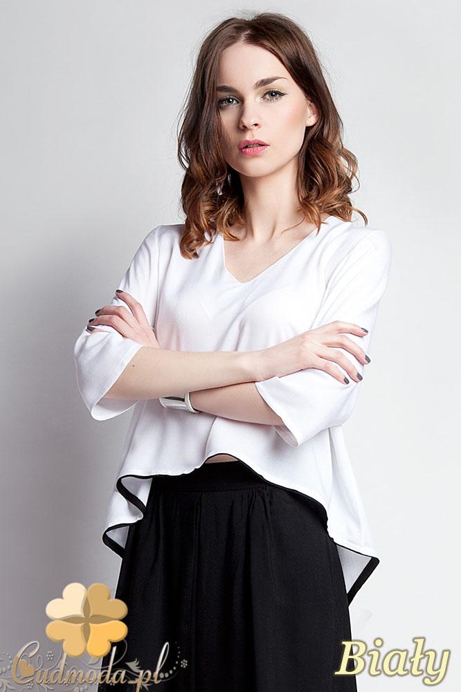 CM0935 LANTI BLU111 Asymetryczna bluzka damska z lamówkš na dole i dekoltem w serek - biała