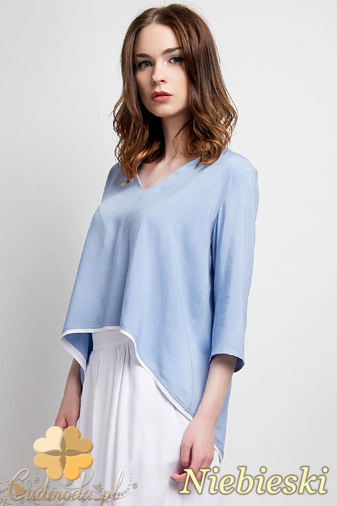 CM0935 LANTI BLU111 Asymetryczna bluzka damska z lamówkš na dole i dekoltem w serek - niebieska