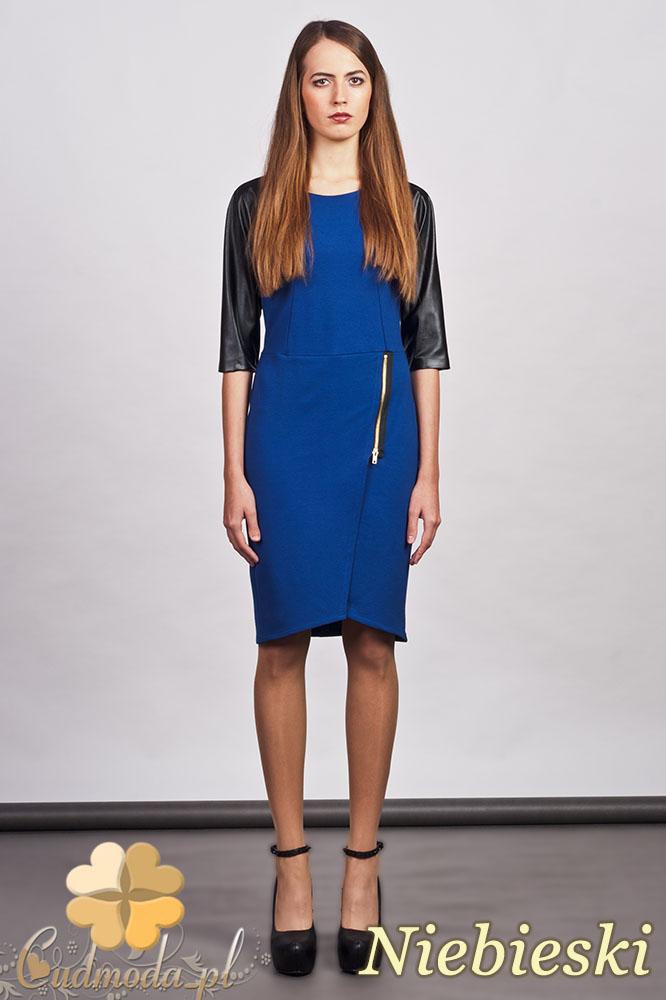 CM0936 LANTI SUK106 Sukienka z ozdobnym zamkiem i skórzanymi rękawami - niebieska