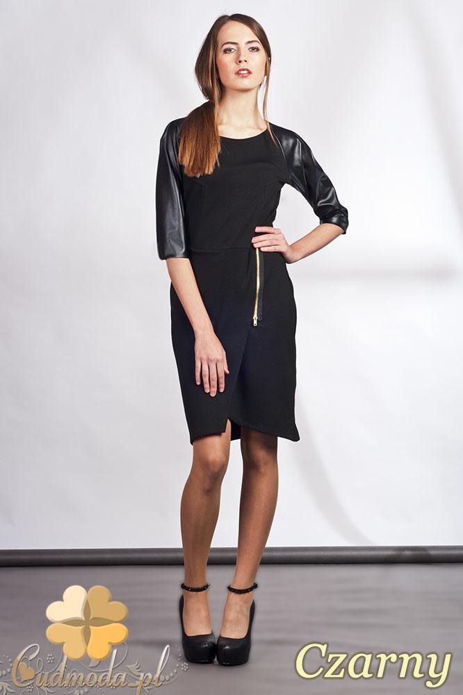 CM0936 LANTI SUK106 Sukienka z ozdobnym zamkiem i skórzanymi rękawami - czarna
