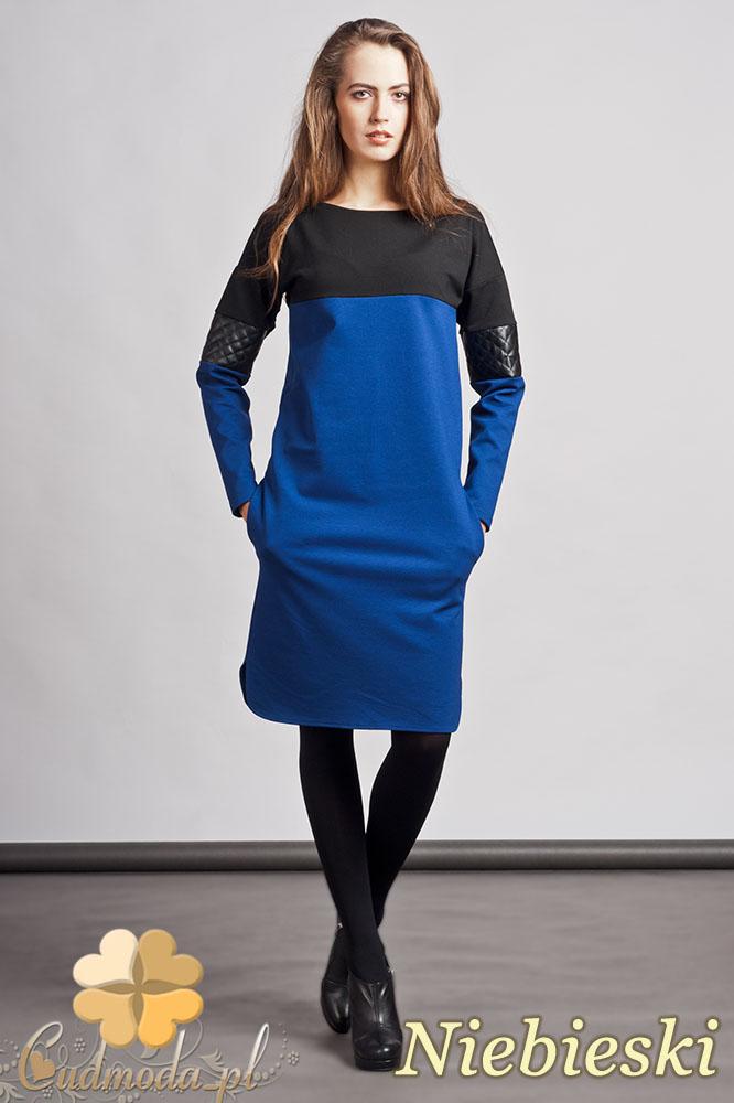 CM0937 LANTI SUK107 Prosta sukienka z pikowanš wstawkš ze skóry - niebieska