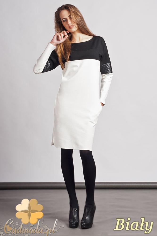 CM0937 LANTI SUK107 Prosta sukienka z pikowanš wstawkš ze skóry - biała