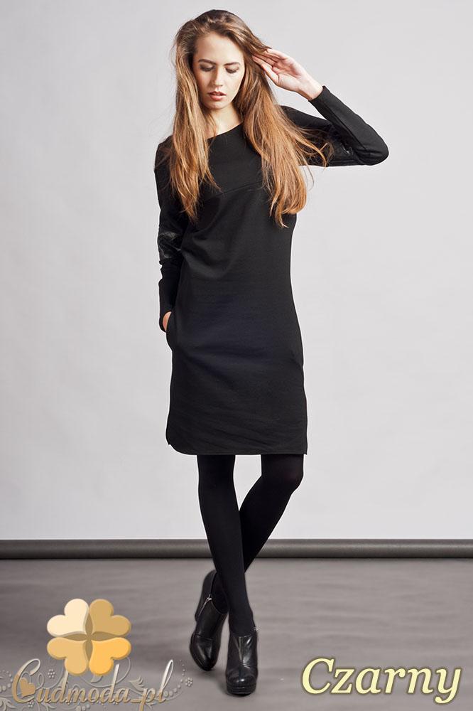 CM0937 LANTI SUK107 Prosta sukienka z pikowanš wstawkš ze skóry - czarna