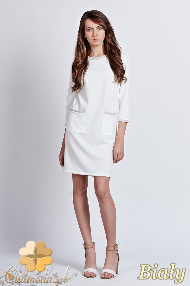 CM0939 LANTI SUK103 Sukienka z kontrastowš lamówkš przy kołnierzy i kieszeniš - biała