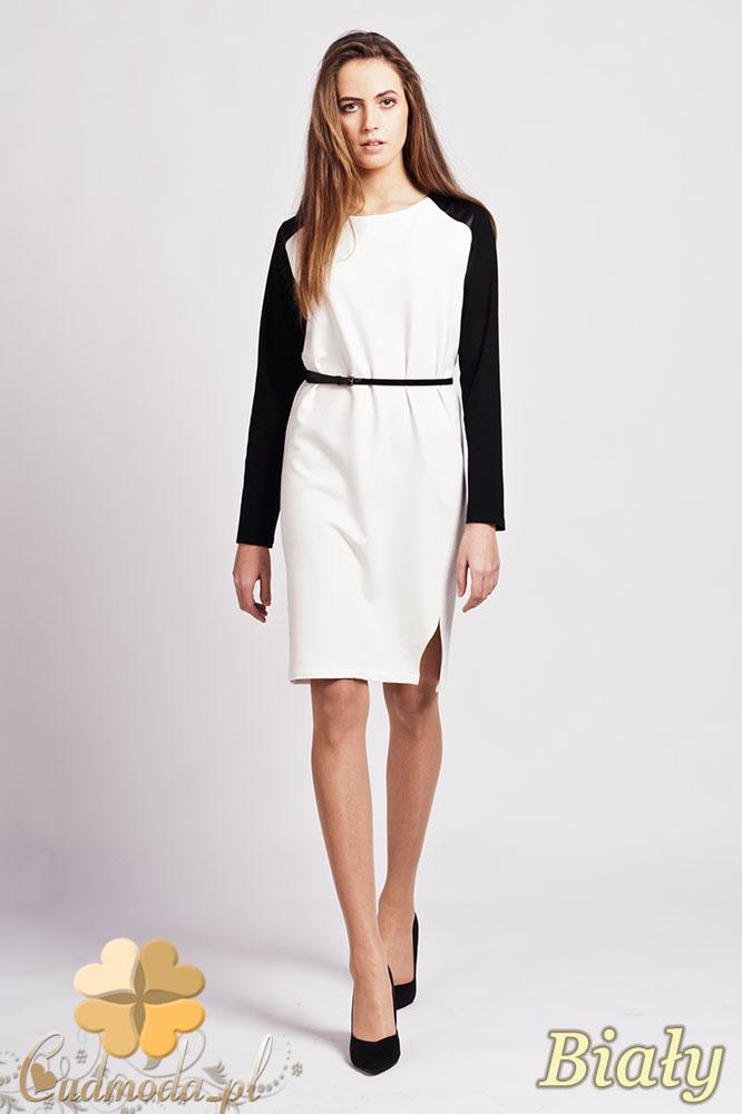 CM0941 LANTI SUK108 Sukienka ołówkowa z długim rękawem i wstawkami ze skóry - biała