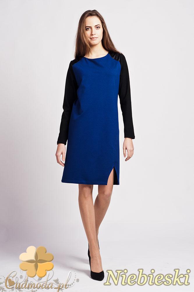 CM0941 LANTI SUK108 Sukienka ołówkowa z długim rękawem i wstawkami ze skóry - niebieska