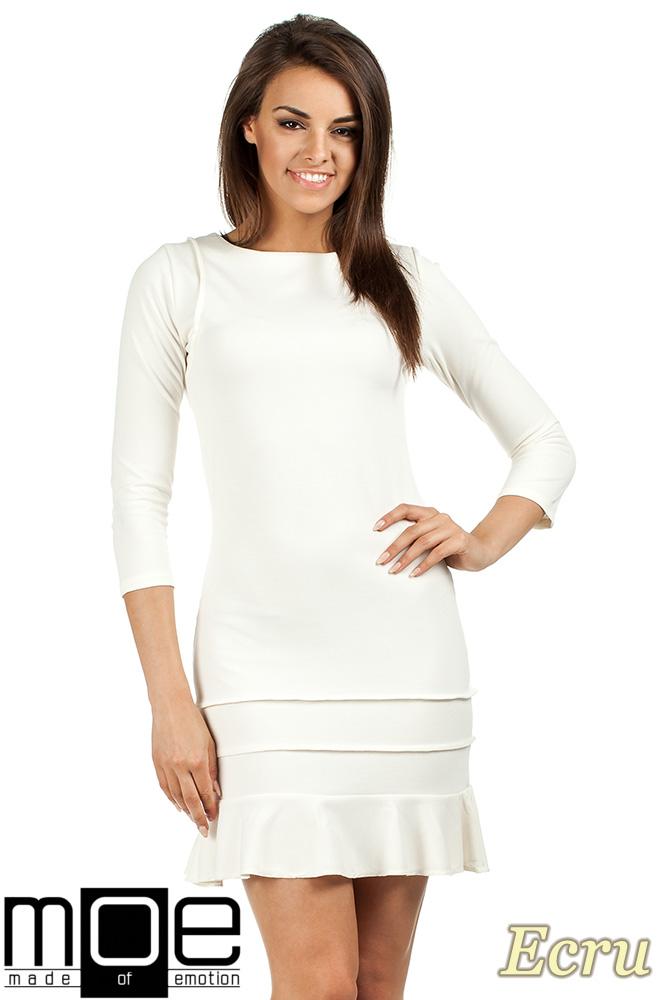 CM0983 Elegancka sukienka mini z falbankš - ecru