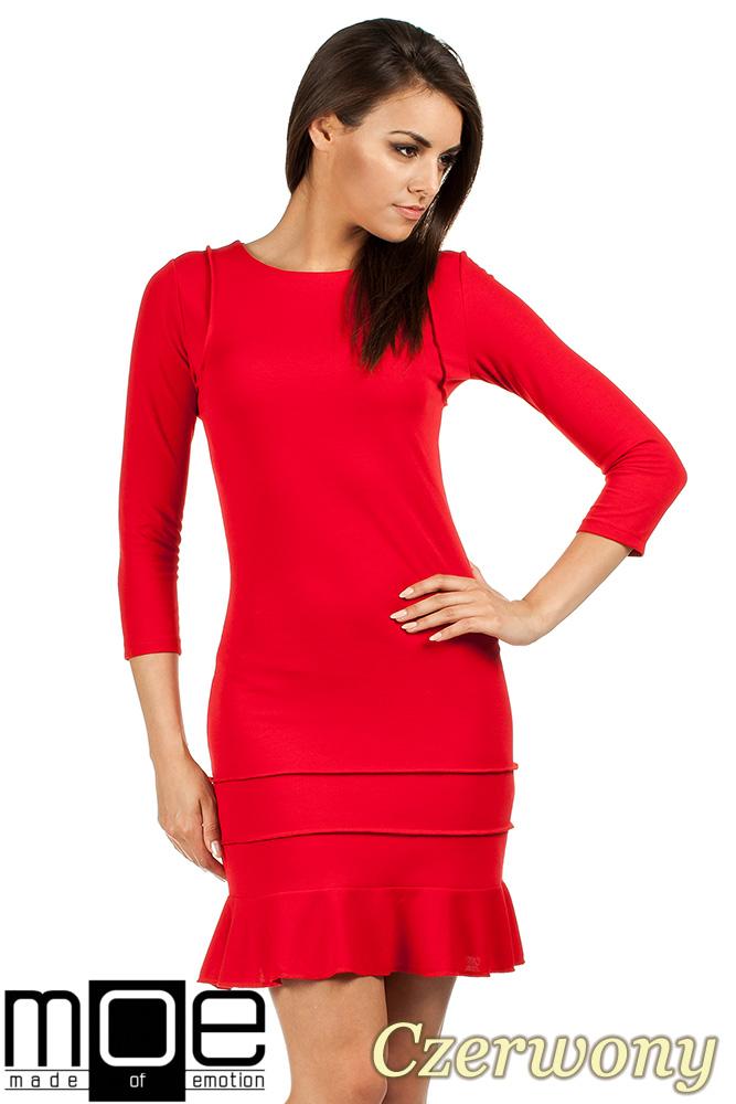CM0983 Elegancka sukienka mini z falbankš - czerwona