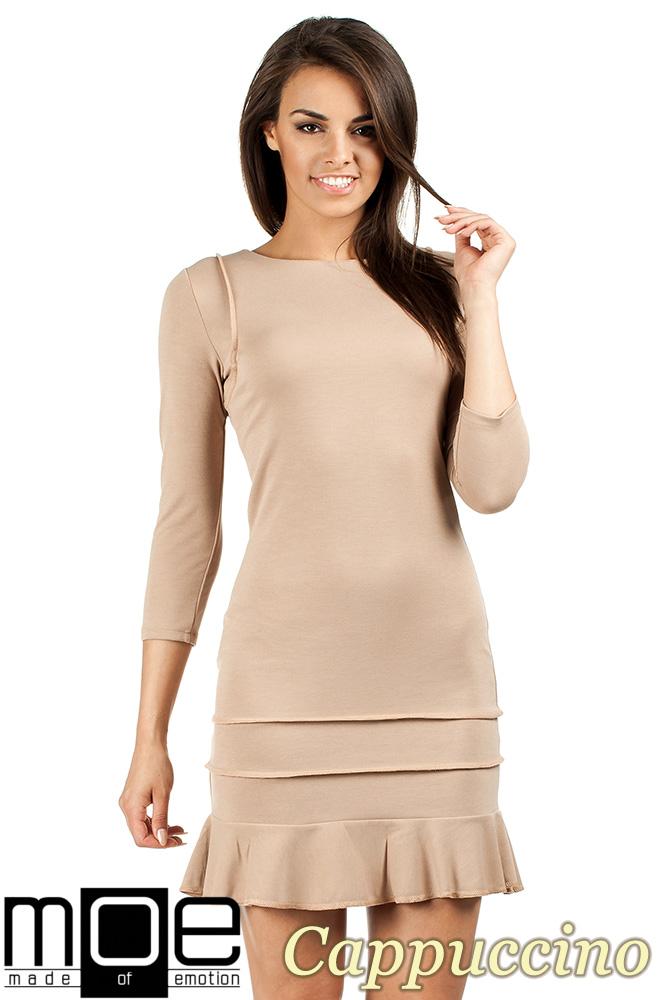 CM0983 Elegancka sukienka mini z falbankš - cappuccino