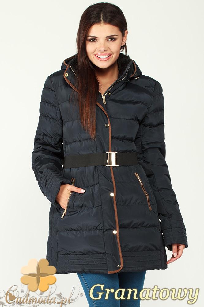 CM0997 Zimowa kurtka damska pikowany płaszczyk 3XL - 7XL - granatowy