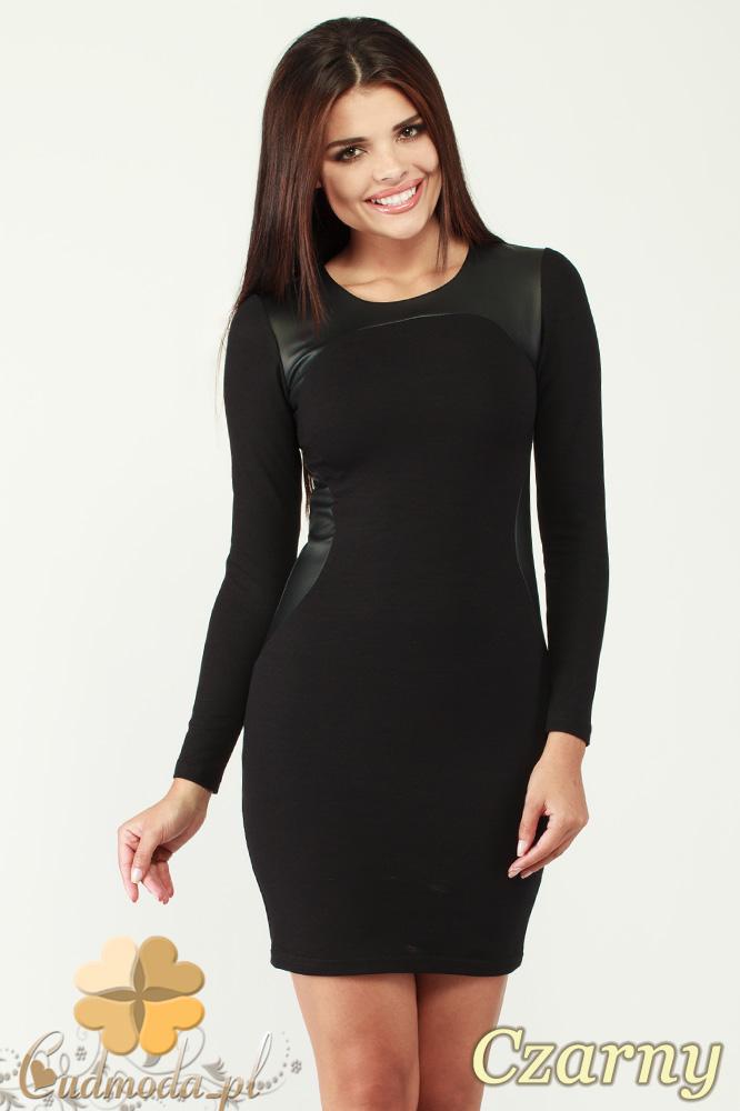 CM0995 Sukienka mini ze skórzanymi wstawkami modelujšcymi sylwetkę - czarna