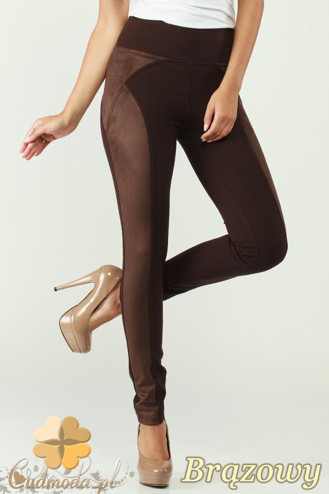 CM0305 Legginsy spodnie damskie z zamszem - bršzowe