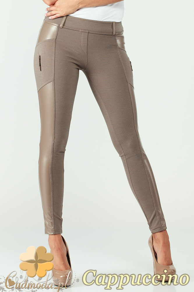 CM0301 Legginsy spodnie z zameczkami i wstawkš ze skóry - cappuccino