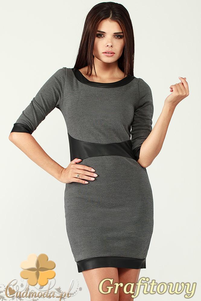 CM0996 Sukienka mini z rękawem do łokcia i wstawkami z matowej skóry - grafitowa