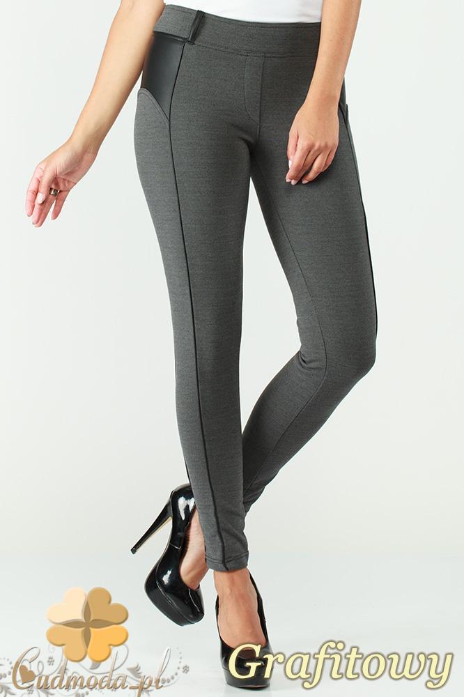 CM1004 Legginsy spodnie rurki z przeszyciami i skórzanymi wstawkami - grafitowe
