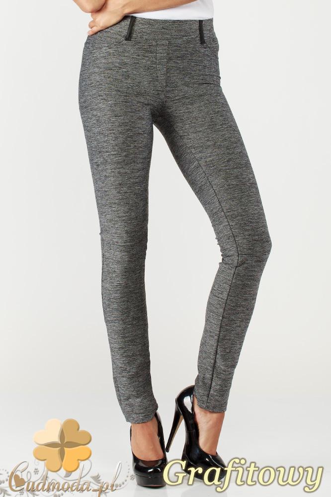 CM1005 Legginsy spodnie damskie ze skórzanymi szlufkami i wstawkami na kieszeniach - grafitowe