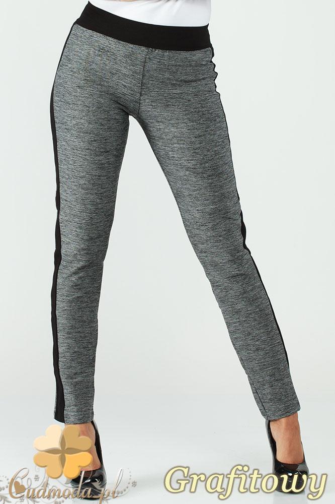 CM1006 Elastyczne spodnie legginsy z lampasem - grafitowe