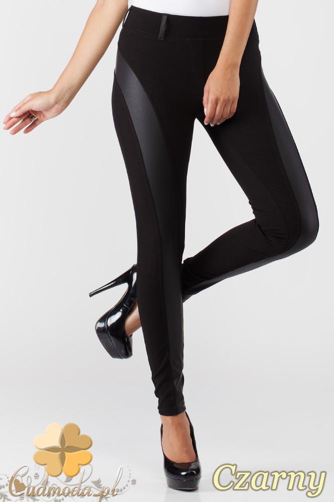 CM1010 Legginsy spodnie z niskim stanem i skórzanym pasem na nogawce - czarne