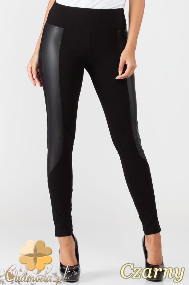 CM1011 Efektowne legginsy z wysokš gumš w pasie i skórzanymi wstawkami na nogawce - czarne