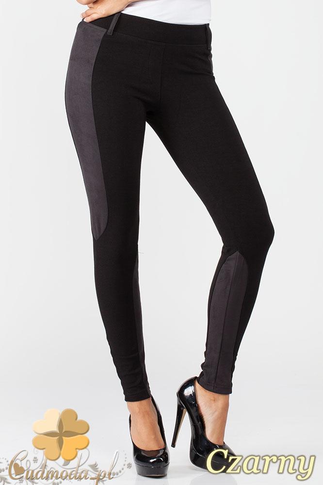 CM1012 Dopasowane bryczesy legginsy z zamszowymi wstawkami - czarne