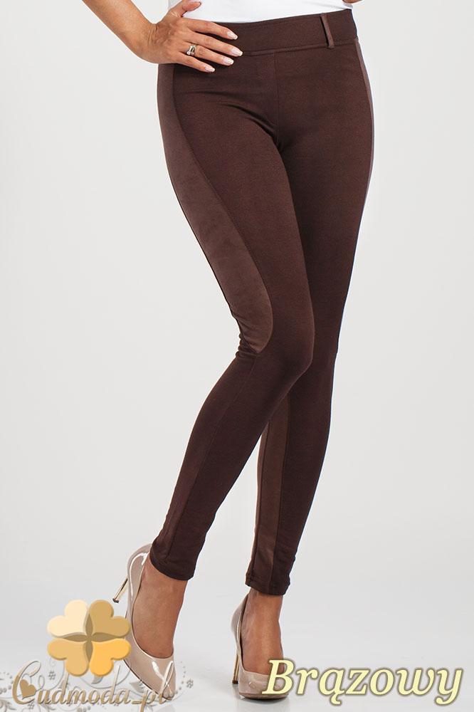 CM1012 Dopasowane bryczesy legginsy z zamszowymi wstawkami - bršzowe