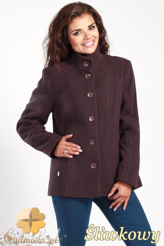 CM1013 Flauszowa kurtka damska zapinana na guziki - œliwkowa