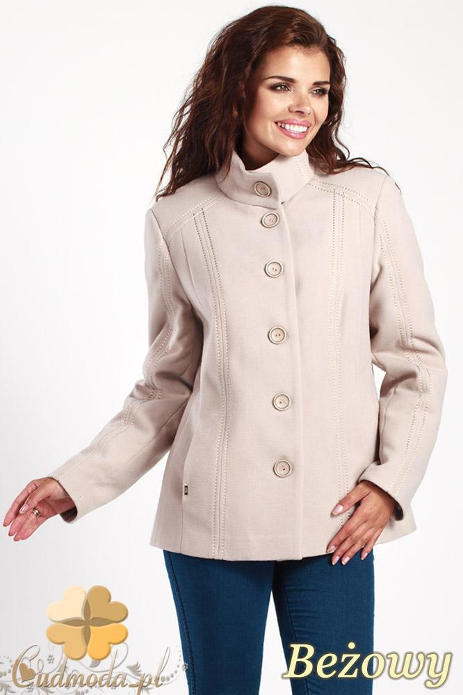 CM1013 Flauszowa kurtka damska zapinana na guziki - beżowa