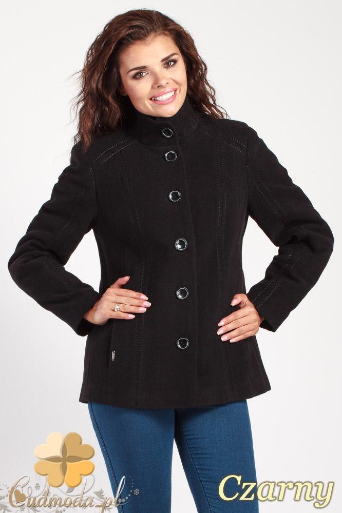 CM1013 Flauszowa kurtka damska zapinana na guziki - czarna