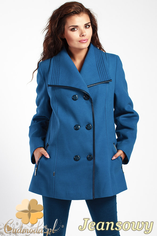 CM1014 Elegancka dwurzędowa kurtka damska - jeansowa