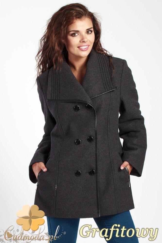 CM1014 Elegancka dwurzędowa kurtka damska - grafitowa