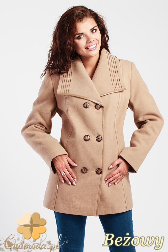 CM1014 Elegancka dwurzędowa kurtka damska - beżowa