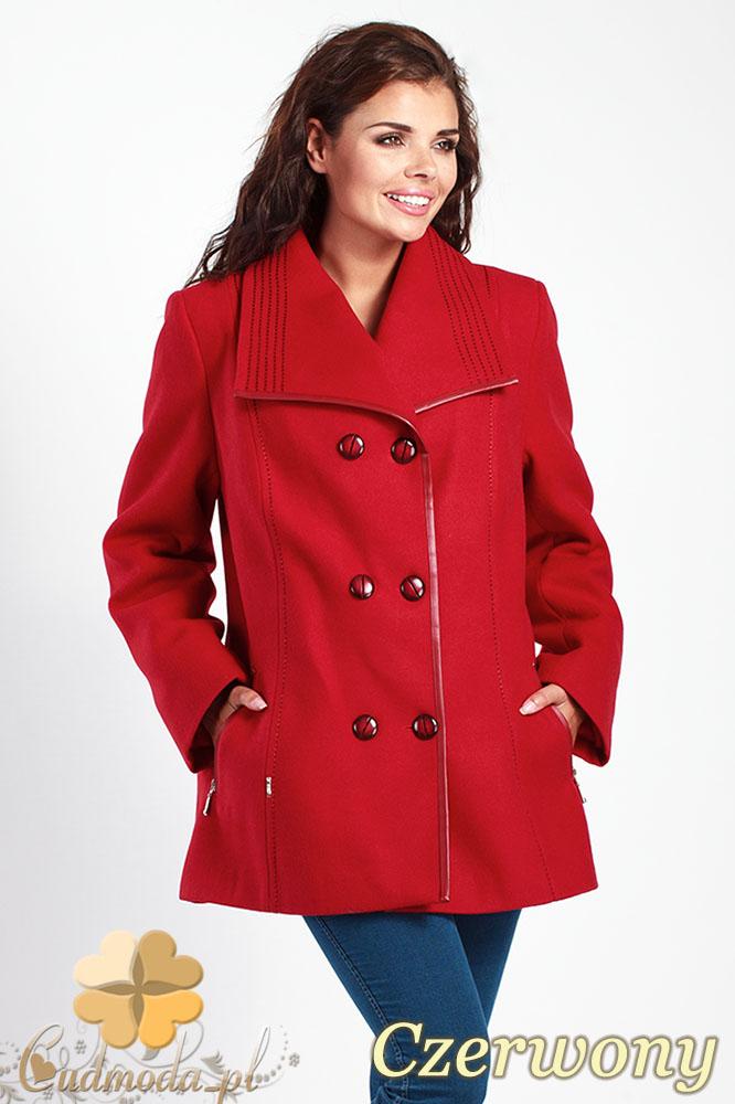 CM1014 Elegancka dwurzędowa kurtka damska - czerwona
