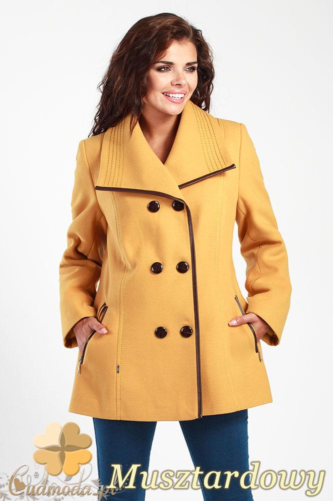 CM1014 Elegancka dwurzędowa kurtka damska - musztardowa
