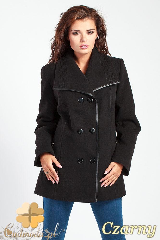 CM1014 Elegancka dwurzędowa kurtka damska - czarna