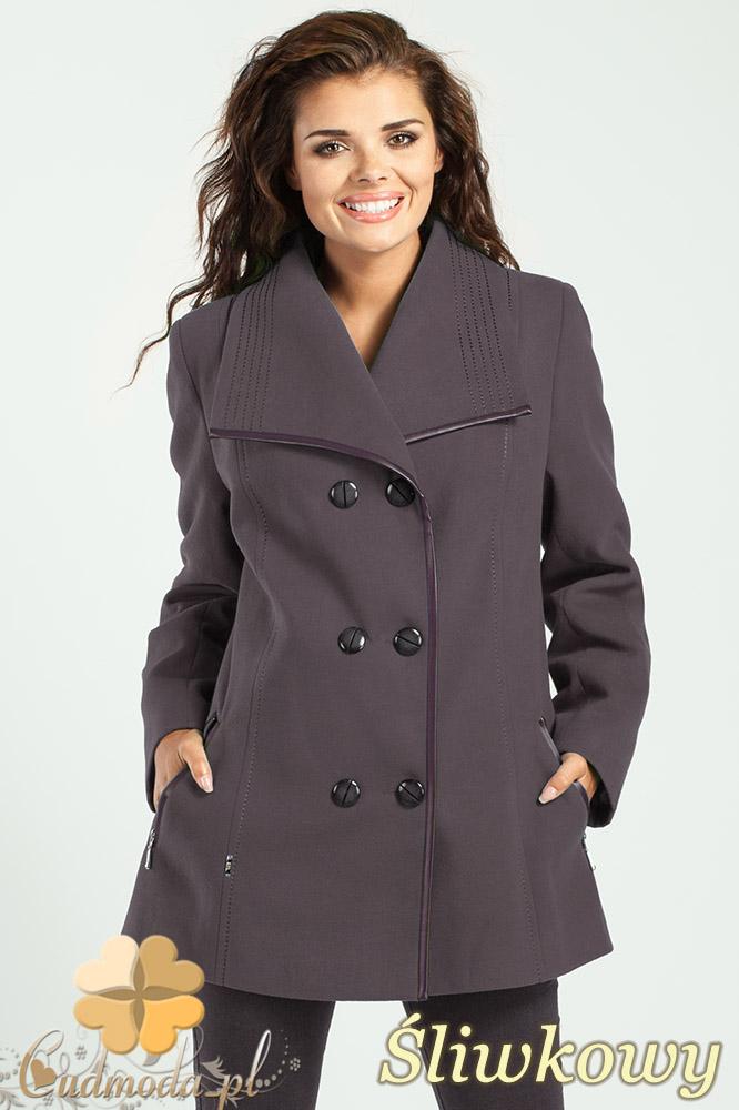 CM1014 Elegancka dwurzędowa kurtka damska - œliwkowa