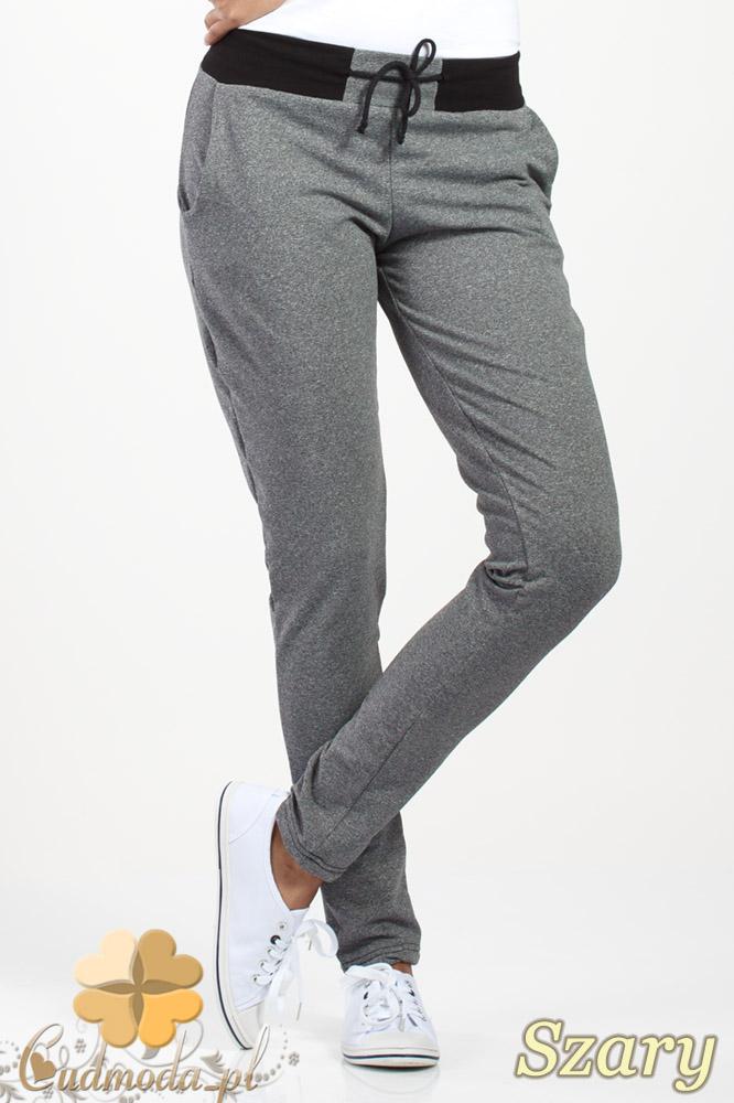 CM1018 Dresowe spodnie z czarnym pasem i wišzaniem - szare