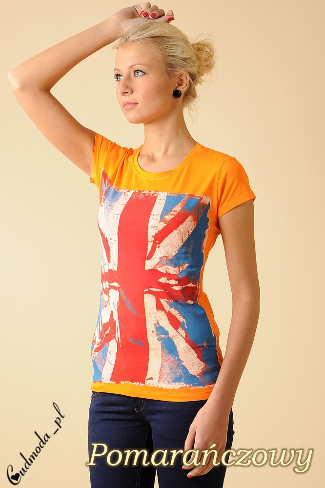 CM0050 Damski T-shirt z nadrukiem – flagš brytyjskš - pomarańczowy