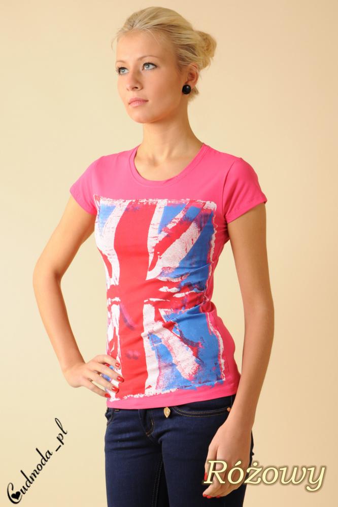 CM0050 Damski T-shirt z nadrukiem – flagš brytyjskš - różowy