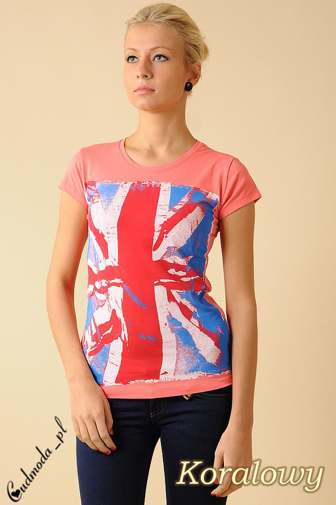 CM0050 Damski T-shirt z nadrukiem – flagš brytyjskš - koralowy