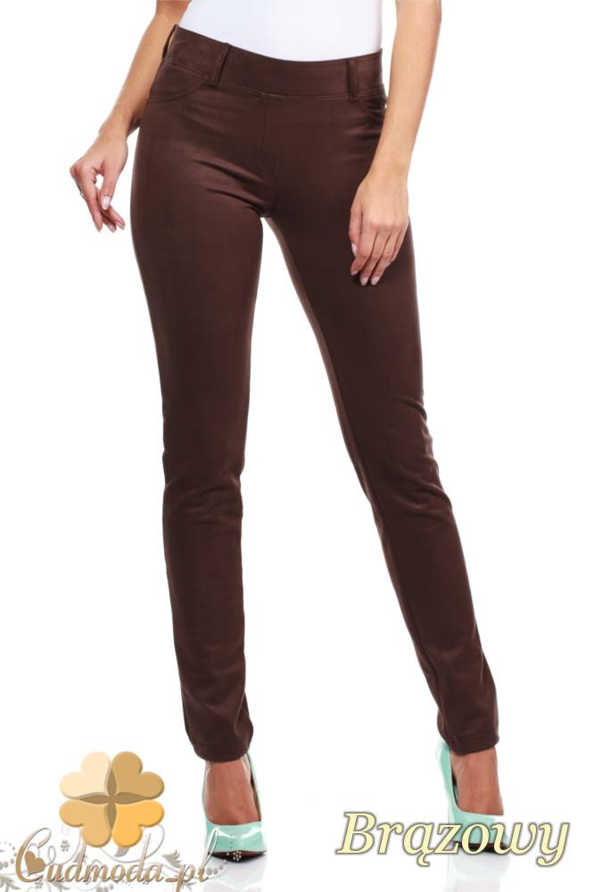 CM0133 Włoskie spodnie rurki  legginsy z zamszu - bršzowe
