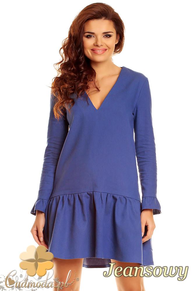 CM1265 Kobieca sukienka z dekoltem karo - jeansowa