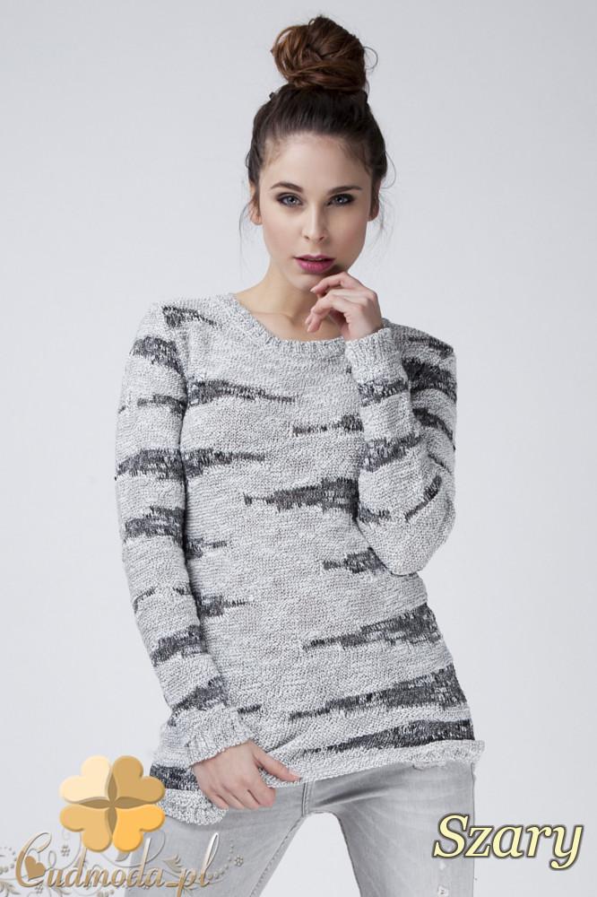 CM1271 Połyskujšcy damski sweter z dekoltem - szary