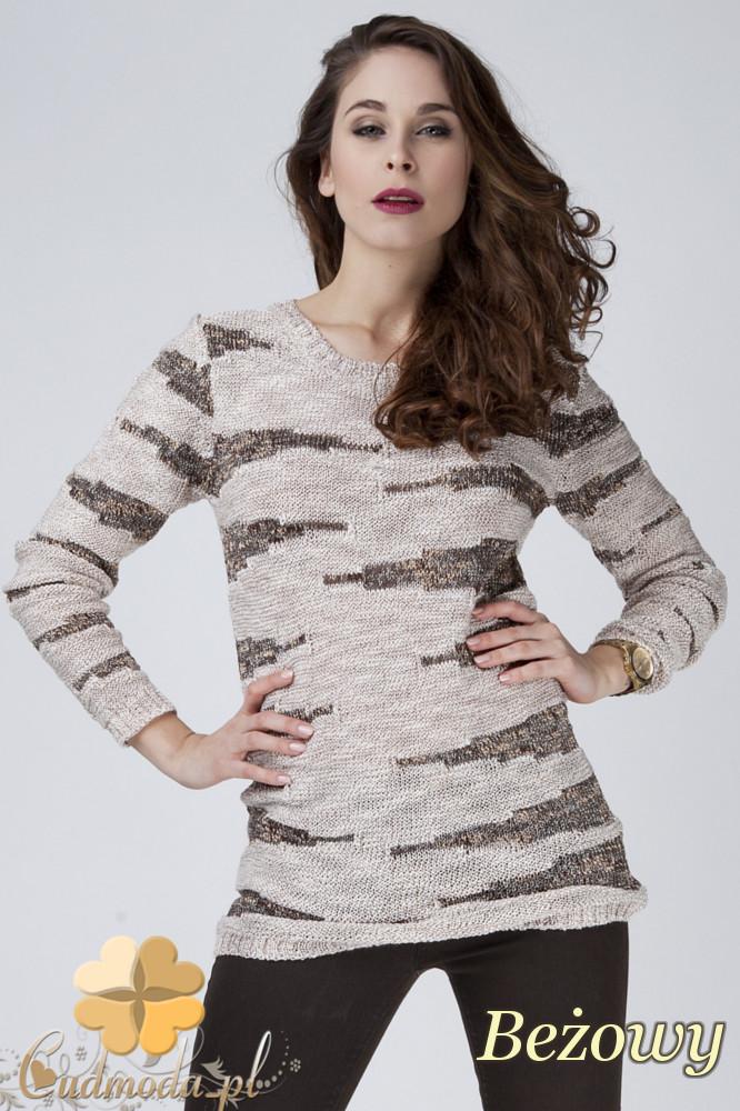 CM1271 Połyskujšcy damski sweter z dekoltem - beżowy