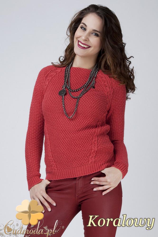 CM1272 Damski sweter z raglowanym rękawem - koralowy