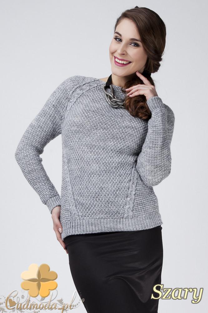 CM1272 Damski sweter z raglowanym rękawem - szary